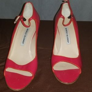 Manolo Blahnik Red Patent Leather Open Toe